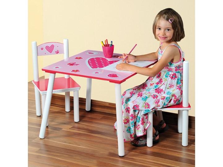 Stolik z 2 krzesłami dla dziewczynki w kolorze różowym z motywem serca, Kesper