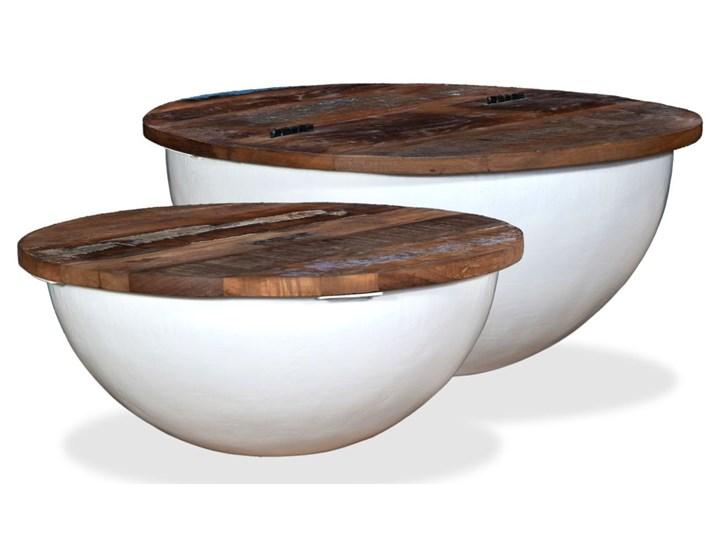 Vidaxl Stoliki Kawowe 2 Szt Drewno Z Odzysku Białe Kształt Misy