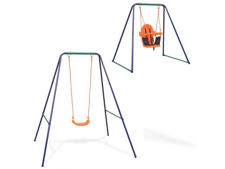 vidaXL Huśtawka pojedyncza i kubełkowa, zestaw 2w1, pomarańcz Tworzywo sztuczne Metal