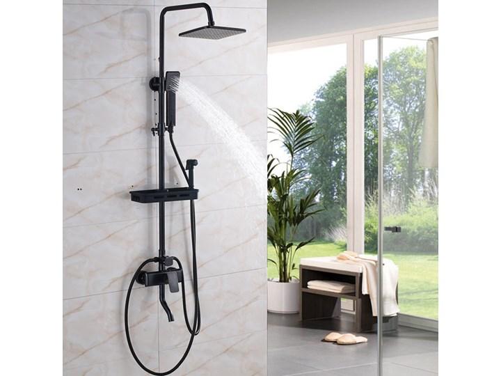Czarny Zestaw Prysznicowy Z Półką Zestawy Prysznicowe Zdjęcia