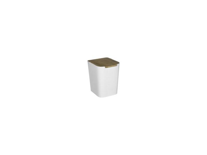 Biały Kubeł Na śmieci Z Bambusową Pokrywką Mały Kosz Do łazienki Kosz Na Odpady Kuchenne Kosz Na śmieci 5l