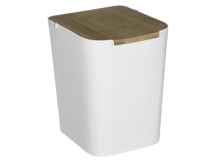 Biały Kubeł Na śmieci Z Bambusową Pokrywką Mały Kosz Do