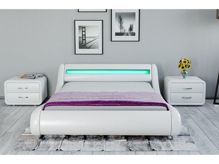 łóżko 160x200 Tapicerowane Do Sypialni 114 Led Białe