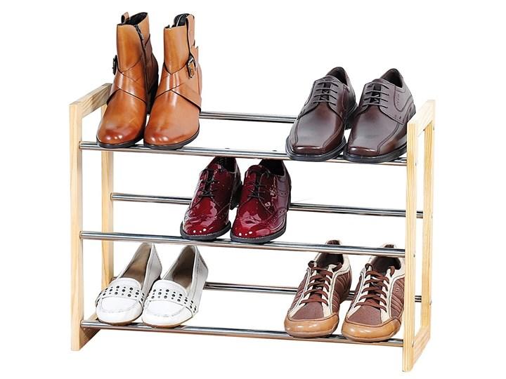 Elegancka szafka na buty z drewna i chromowanego metalu, teleskopowy regał na buty, szafka na buty do przedpokoju, półka na buty, drewniana półka, Kesper Drewno