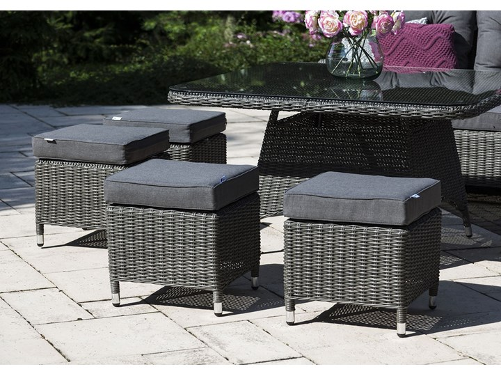 Zestaw mebli ogrodowych SIENA royal szary Zestawy wypoczynkowe Technorattan Aluminium Tworzywo sztuczne Zawartość zestawu Krzesła