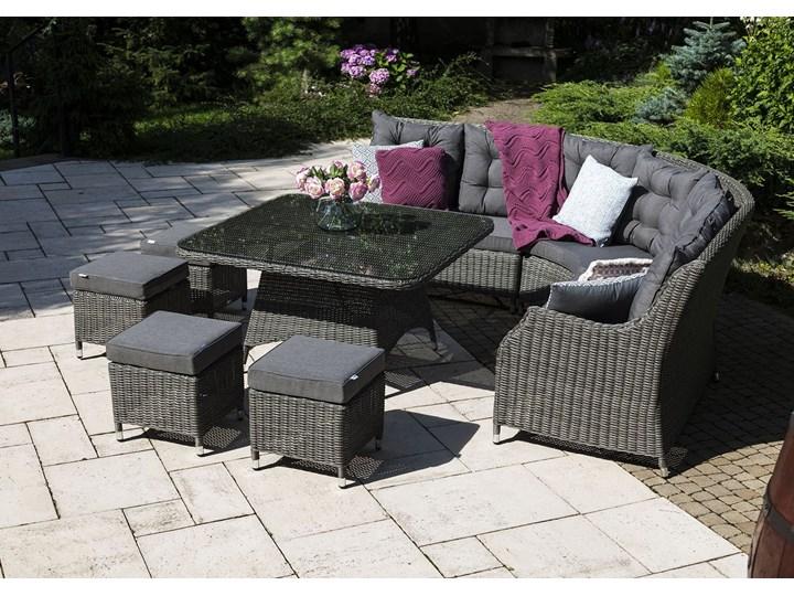 Zestaw mebli ogrodowych SIENA royal szary Zawartość zestawu Narożnik Technorattan Aluminium Zestawy wypoczynkowe Tworzywo sztuczne Zawartość zestawu Krzesła