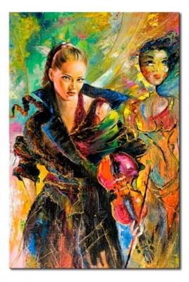 Obraz na płótnie OML117_13- Kobieta ze skrzypcami