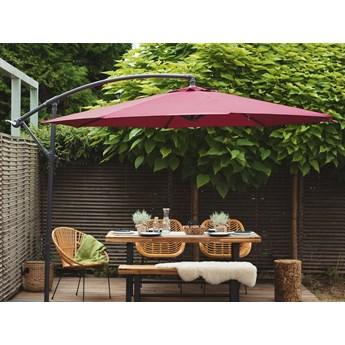 Parasol ogrodowy burgundowy na wysięgniku Ø300 cm podwieszany ciemnoszara stalowa rama