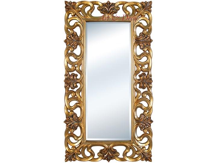 LUSTRO Designerskie APOLLO w złotej ramie w stylu Glamour prostokąt 92X167 kolor: złoty, Materiał: poliuretan, rozmiar ramy: 92/167/6,5, rozmiar lustra: 50/125, EAN: 5903949790849 Prostokątne Ścienne Lustro z ramą Pomieszczenie Garderoba