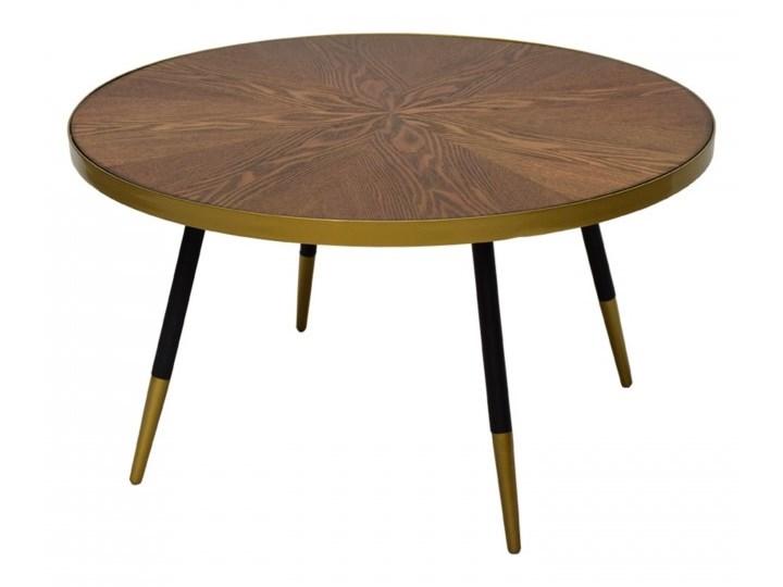 Stolik Kawowy Okrągły Drewniany Ze Złotem Carrie 80 X 45 Cm