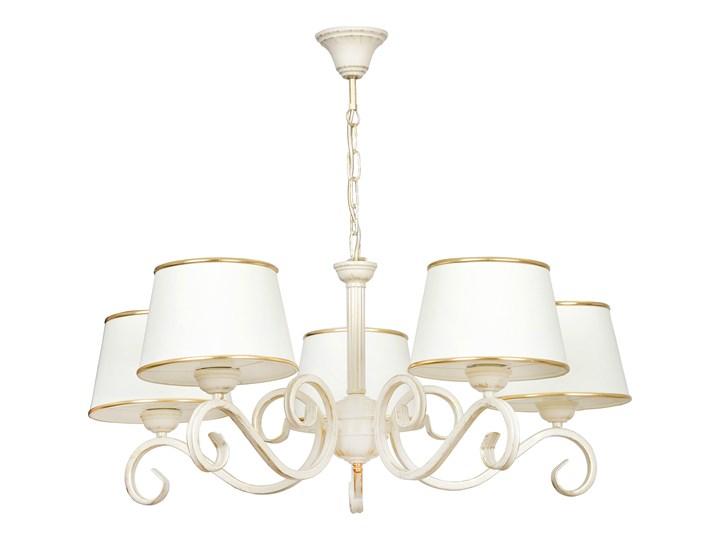 KASPIAN 5 195/5 klasyczny żyrandol duże kremowe abażury złota tasiemka elegancja Lampa z abażurem Lampa LED Metal Ilość źródeł światła 5 źródeł