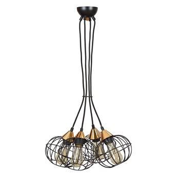 LATARNIA 4 BLACK 375/4 druciak lampa wisząca miedziane elementy regulowana wysokość