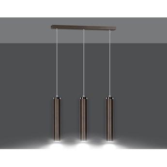LUNA 3 WENGE designerski spot wiszący tuby brązowe chrom