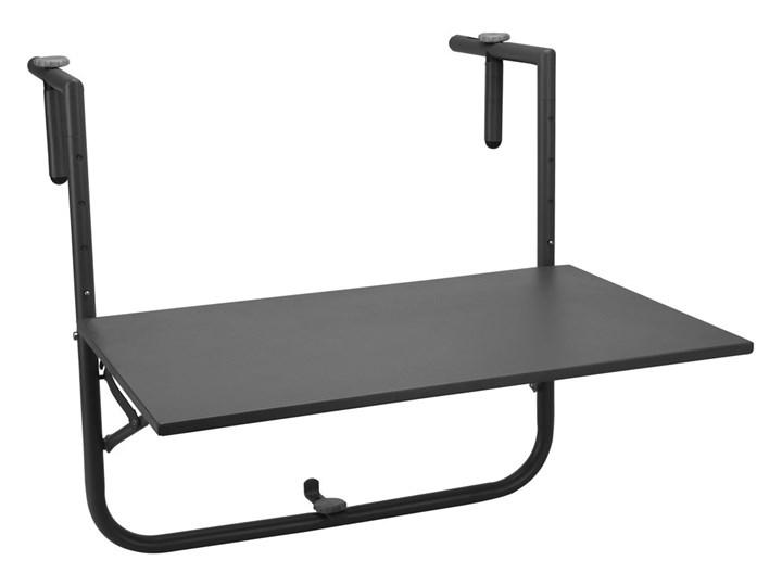 Praktyczny Stolik Na Balkon Składany 40 X 60 Cm Regulowana Wysokość Montaż Na Balustradzie Kolor Czarny