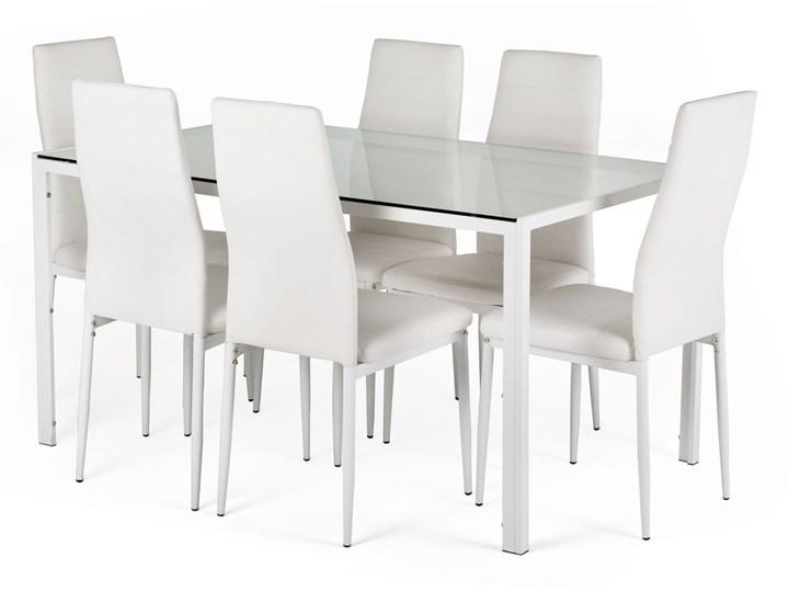 Zestaw Stołowy Neckon Ii Szklany Stół 6 Białych Krzeseł