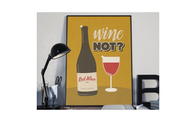 Plakat Premium Ilustracja Wine Not 50 X 70 Cm