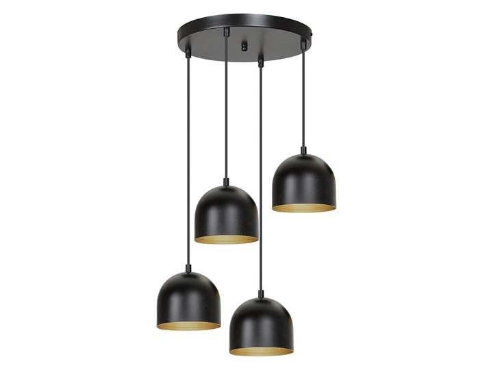 AERO 4 BLACK / GOLD 246/4 lampa wisząca regulowana czarny klosz złoty środek Lampa z kloszem Metal Pomieszczenie Przedpokój