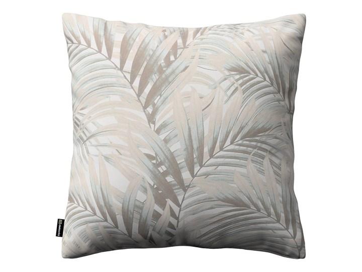Dekoria Poszewka Kinga na poduszkę, beżowo- kremowe liście palmy na białym tle w, 43 × 43 cm, Gardenia