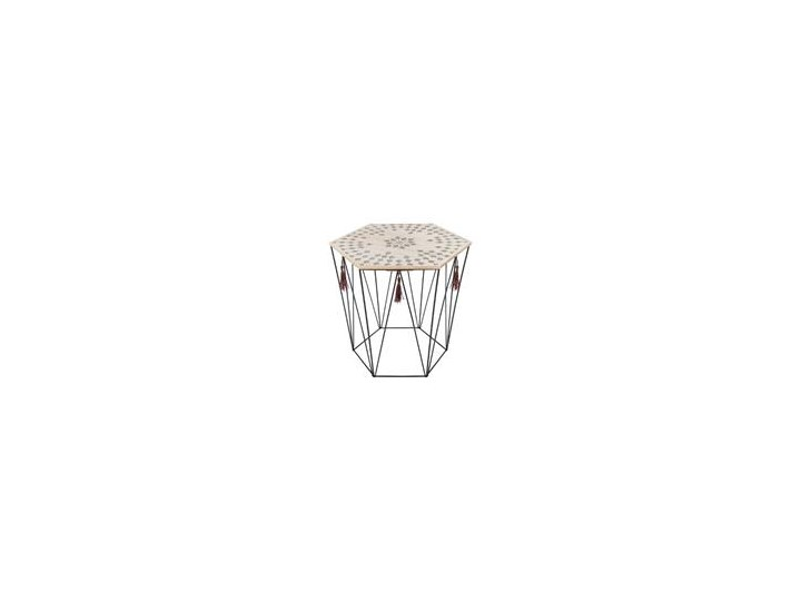 Stolik kawowy z drewna i metalu, sześciokątny blat ze wzorami, design w stylu modern pasujący do wielu wnętrz.