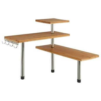 Narożna półka kuchenna, bambusowa - 3 poziomy, 4 haczyki