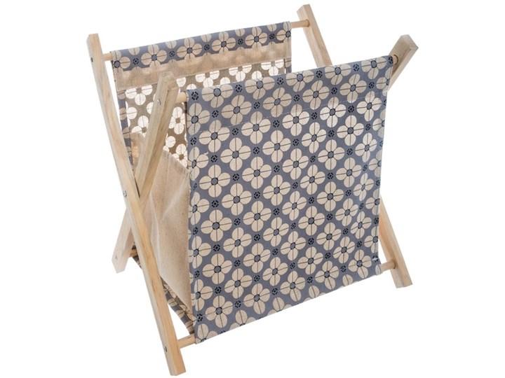 Praktyczny, stojak, organizer na czasopisma, dokumenty, gazety, z drewnianym stelażem, w stylu vintage, pojemny, kolor niebieski Drewno Tkanina