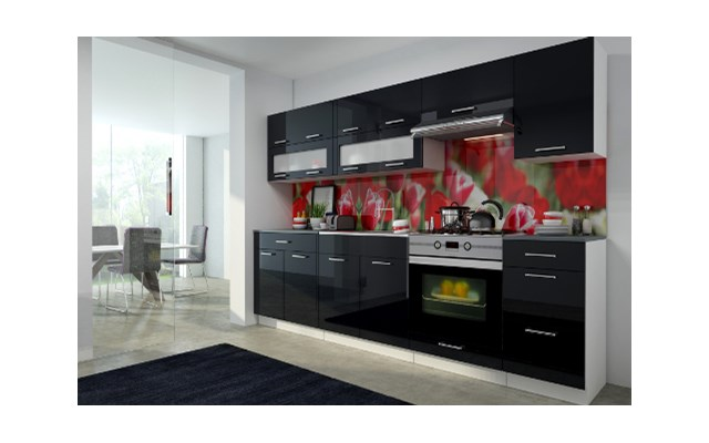 Najnowsze czarne meble kuchenne na wysoki połysk opinie - pomysły VK85
