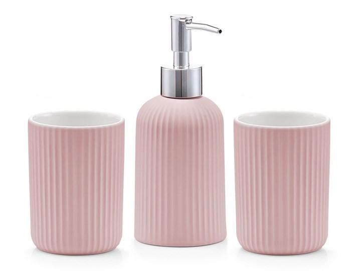 Różowe akcesoria do łazienki z ceramiki, komplety łazienkowe ceramiczne, pojemniki łazienkowe, akcesoria łazienkowe zestawy, ZELLER