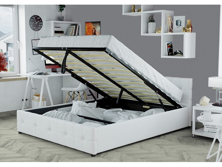 łóżko 180x200 Tapicerowane Do Sypialni Sfg012a Białe