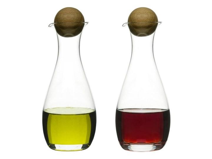 Zestaw butelek na oliwę i ocet Oval Oak, 2 szt., szkło + dąb Drewno Pojemnik na ocet i oliwę Zestaw do przypraw