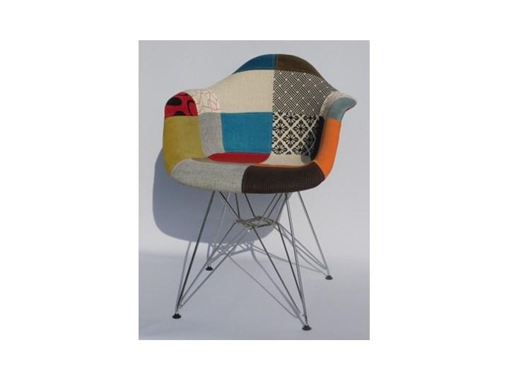 Fotel tapicerowany Milano Patchwork jasny chromowane nogi Tworzywo sztuczne Tkanina Wysokość 80 cm Metal Fotel inspirowany Kategoria Fotele do salonu