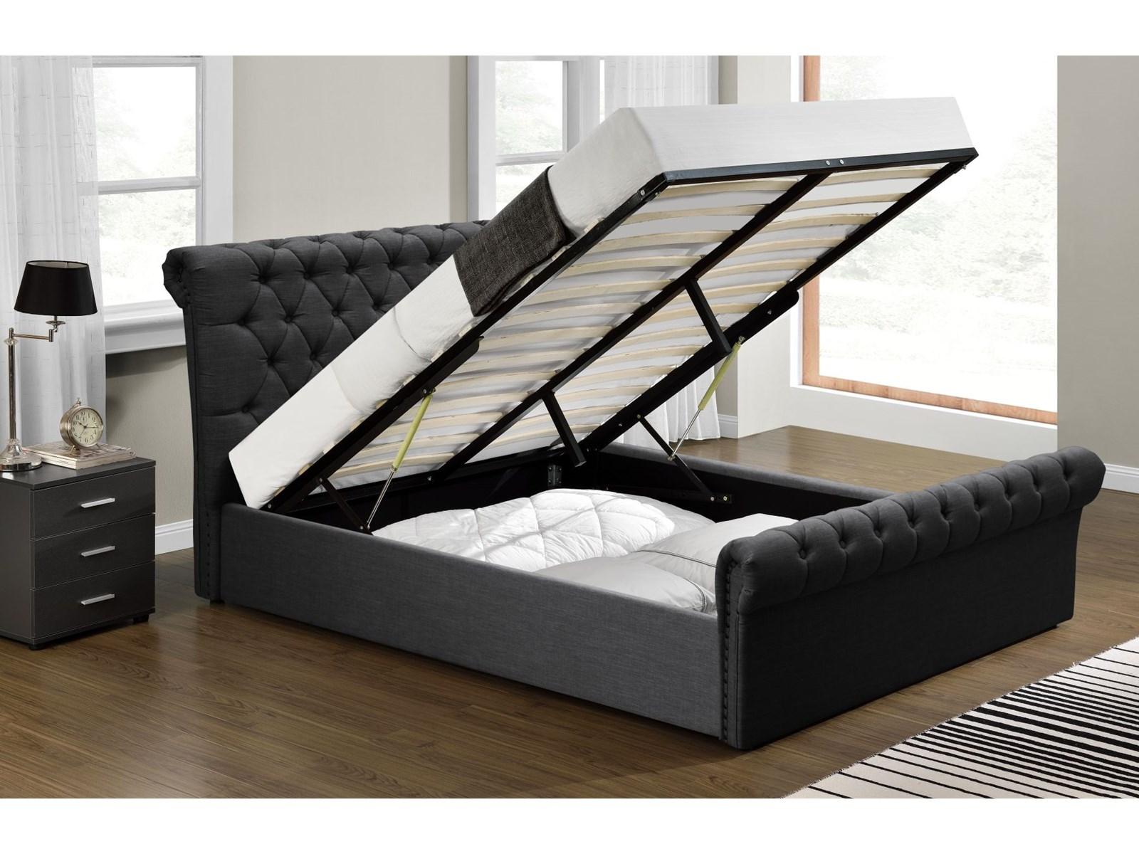 łóżko 140x200 Tapicerowane Do Sypialni 1298g Czarne