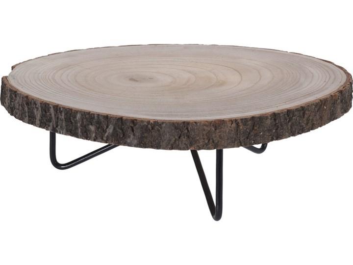 Niski stolik okazjonalny, stolik nocny - naturalny pień drzewa, Ø 40 cm Metal Wysokość 14 cm Drewno