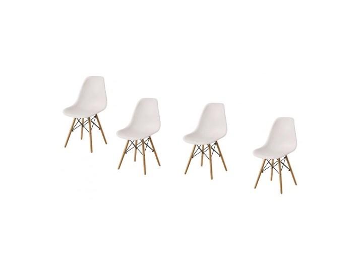 ZESTAW 4 x KRZESŁO ENZO DSW DREWNIANE NOGI+KRZYŻAK BIAŁE Krzesło inspirowane Metal Głębokość 41 cm Drewno Szerokość 41 cm Tworzywo sztuczne Kolor Biały