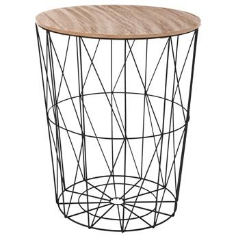 Stolik kawowy ze stalową konstrukcją, stolik okazjonalny, druciany ze schowkiem