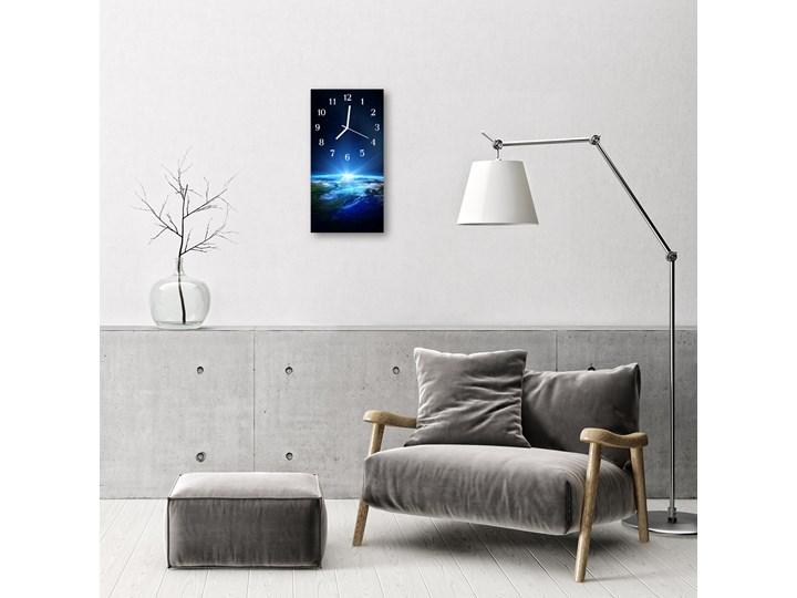 Zegar Szklany Pionowy Wszechświat Ziemia niebieski Zegar ścienny Kolor Granatowy Szkło Prostokątny Styl Nowoczesny