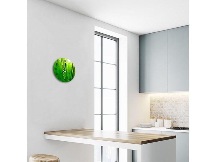 Zegar ścienny okrągły Krople trawy Szkło Kolor Zielony Styl Nowoczesny