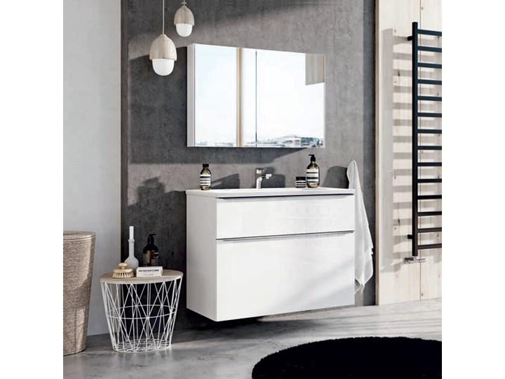 Szafka łazienkowa Biała Z Umywalką Szklaną 90 Cm Family White