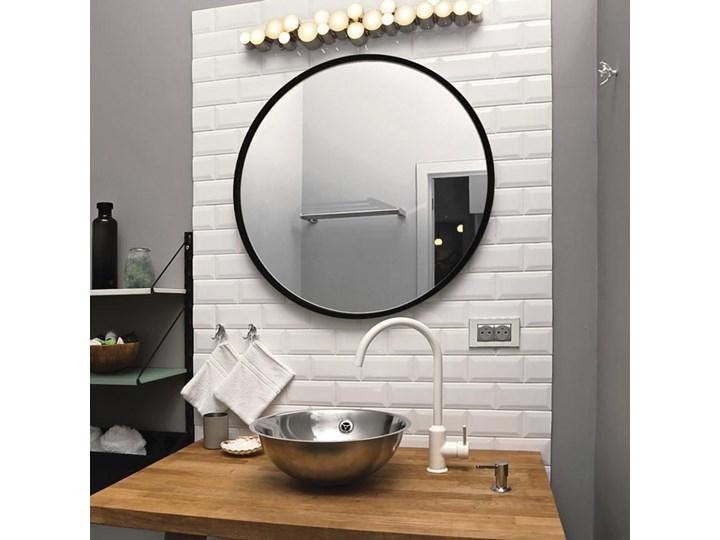 Lustro Scandi – okrągłe w czarnej ramie Styl Skandynawski Ścienne Lustro z ramą Pomieszczenie Salon