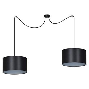 ROTO 2 SILVER lampa wisząca sufitowa czarne duże abażury srebrny środek regulowana
