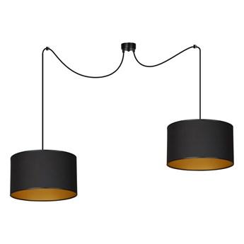 ROTO 2 GOLD lampa wisząca sufitowa czarne duże abażury złoty środek regulowana