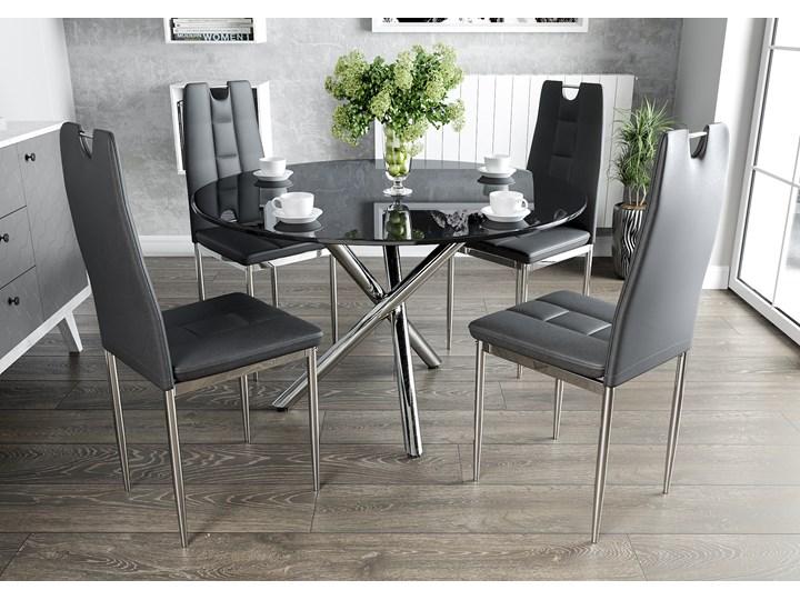 Stół Szklany 100cm Gr 079 4 Krzesła Tapicerowane K1 Chrom