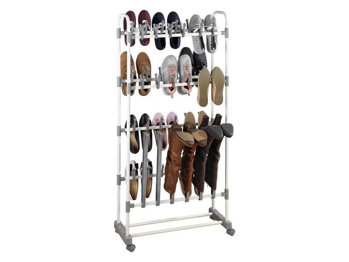 Wysoki stojak na buty Adonis, półka na obuwie, 138 cm wysokości, 39 par butów, 3 długie buty, metalowy, na kółkach, kolor biało-szary, WENKO