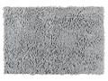 Dywanik łazienkowy z miękkimi włóknami, jasnoszary, wykonany z poliestru i tworzywa sztucznego, antypoślizgowy spód, 80x50 cm