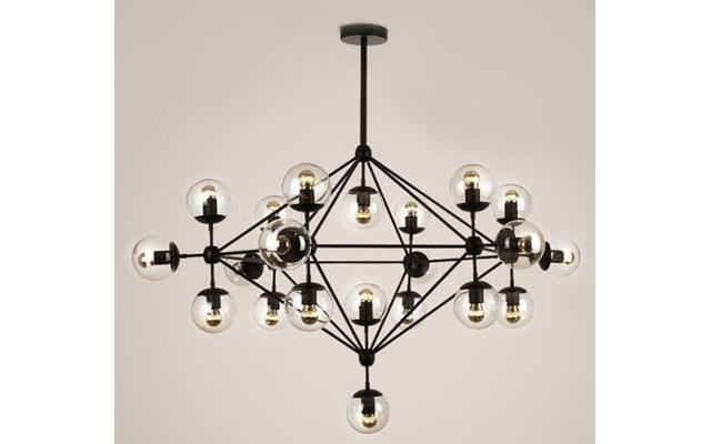 Lampa wisząca ASTRIFERO 21 bursztynowo czarna 165 cm