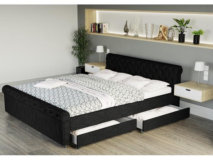 łóżko Tapicerowane Do Sypialni 140x200 1807d Czarne