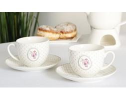 Komplet 2 filiżanek porcelanowych DUO SHABBY ROSES -- biały różowy