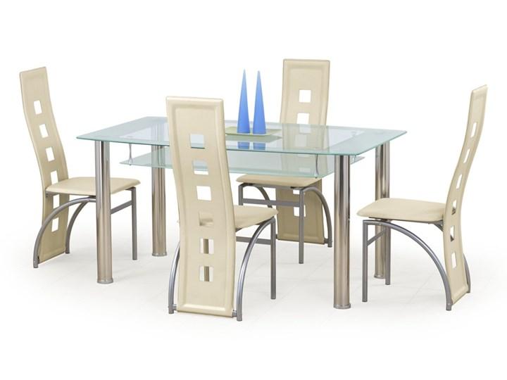 Stół  CRISTAL  bezbarwny/mleczny Szerokość 90 cm Metal Szkło Długość 150 cm  Rozkładanie