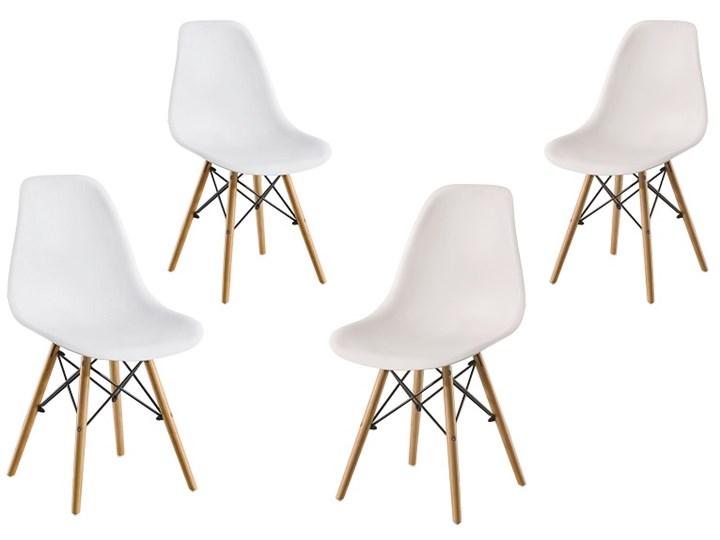 ZESTAW 4 x KRZESŁO ENZO DSW DREWNIANE NOGI+KRZYŻAK BIAŁE Tworzywo sztuczne Krzesło inspirowane Metal Głębokość 41 cm Szerokość 41 cm Drewno Pomieszczenie Jadalnia
