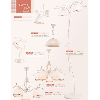RETRO lampa wisząca 1-punktowa biała - złota