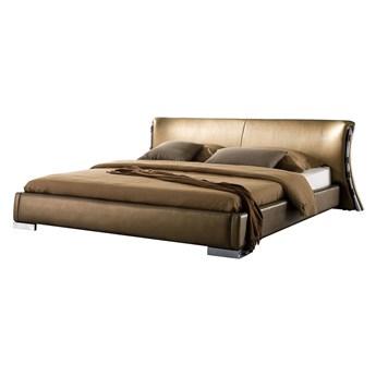 Łóżko wodne złote tapicerowane skórzane z materacem i akcesoriami 160 x 200 cm nowoczesny wygląd